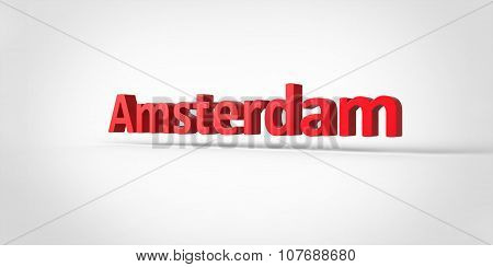 Amsterdam 3D Text Illustration Of City Name Render Isolated On White Grey Gray Background