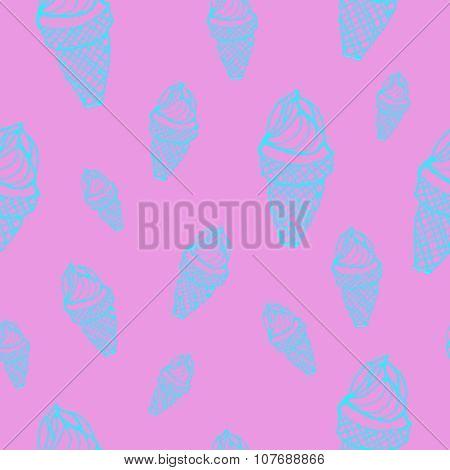 Ice Cream Cones Seamless Vector Pattern