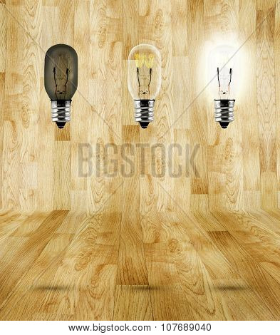 Sequence Of Ideas Thinking At Wood Parquet Room,three Bulb In Room