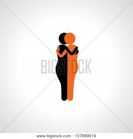 Hug In Friendship, Dependence, Empathy & Bonding - Vector Icons.