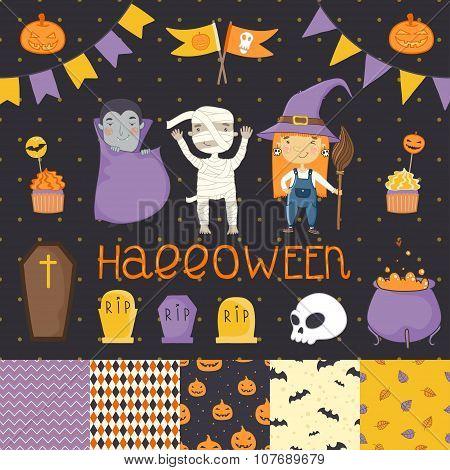 Halloween bright scrapbook set.