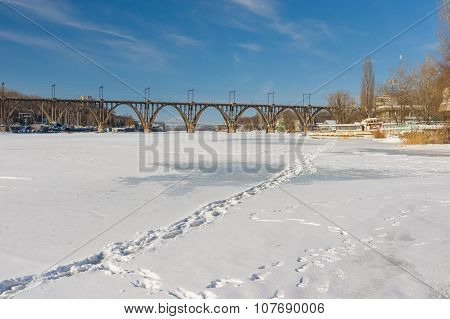 Frozen and snow covered river Dnepr