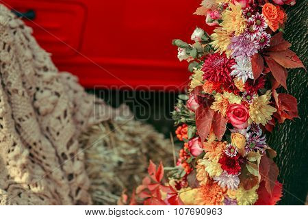 floral arrangement on the tree