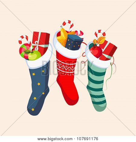 Christmas Socks with Presents. Vector Illustration