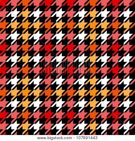 Houndstooth checkered seamless pattern in red yellow black and white, vector
