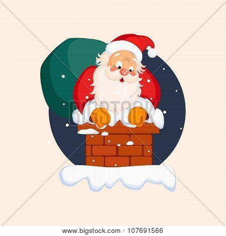 Santa Claus in Chimney on Christmas Eve. Vector Illustration