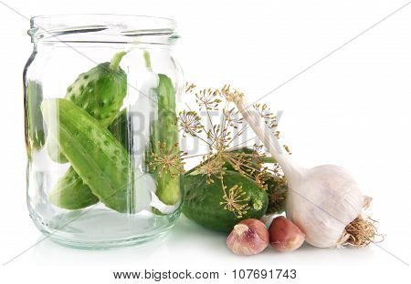 Cucumbers In Jar Preparate For Preserving On White