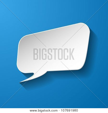 White paper speech bubble on blue background. Vector eps10 illustration