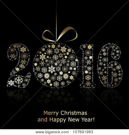 New 2016 year symbol on black background. Christmas greeting card. Vector eps10 illustration