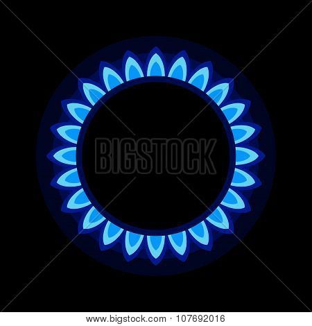 Burner Gas Ring with Blue Flame on Dark Background. Vector