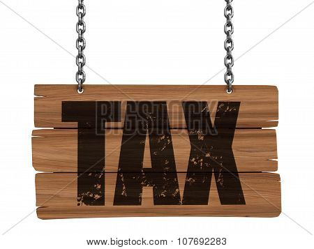 Wooden Blackboard hanging on chains with TAX  (clipping path included)