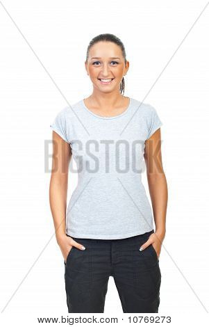 Beauty Woman In Blank Gray Tshirt