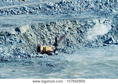 Surface mining and machinery in open pit mine
