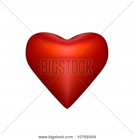 A red heart isolated - a 3d image