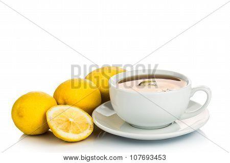 Refreshing Hot Tea With Lemon Slice On White Background