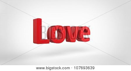 Love 3D Red Text On White Gray Background
