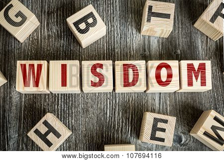 Wooden Blocks with the text: Wisdom