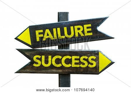 Failure Success signpost isolated on white background