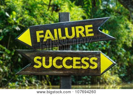 Failure Success signpost with forest background
