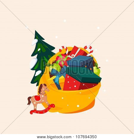 Toy Bag Full of Gifts and Christmas Tree. Vector Illustration