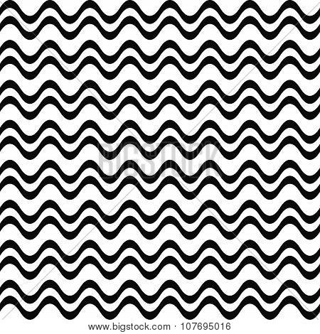 Seamless black and white wave pattern