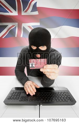 Hacker With Usa States Flag On Background And Id Card In Hand - Hawaii