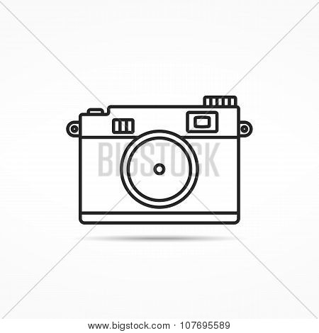 Retro Photo Camera Line Icon