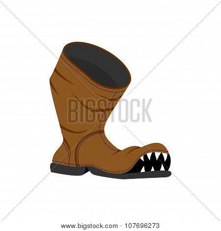 Broken Shoes. Monster Old Boots With Teeth. Hole In Boot.