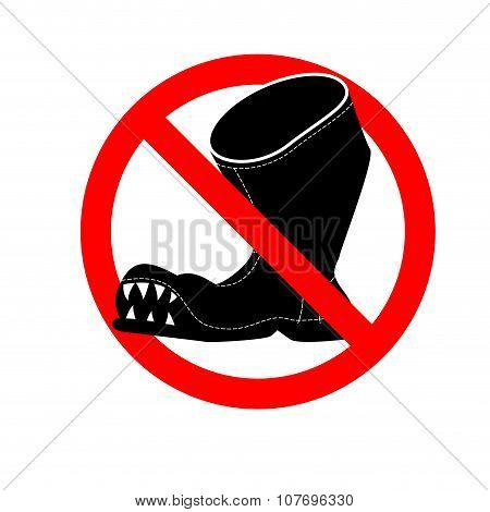 Stop Broken Shoes. Leaky Shoes Ban. Red Mark Is Prohibited.
