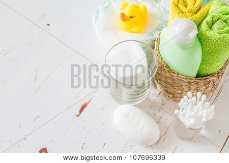 Pampering accessorie on white wood background