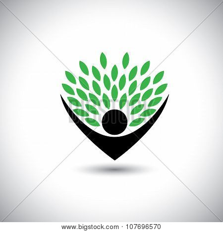People Embracing Tree Or Nature - Eco Lifestyle Concept Vector