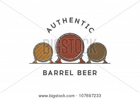 Line beer logo. Authentic barrel beer. Stock vector.