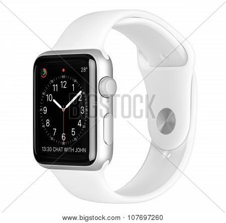 Apple Watch Sport 42Mm Silver Aluminum Case With White Sport Band Side View