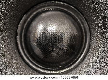 Closeup view of black tweeter speaker