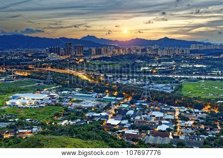 Cityscape of Yuen Long, Hong Kong.