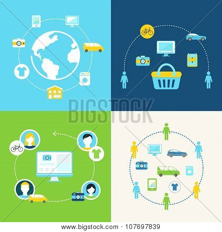 Sharing Economy and Collaborative Consumption Concept Illustration