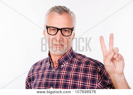 Gray Aged Man With Glasses Gesturing Two Fingers