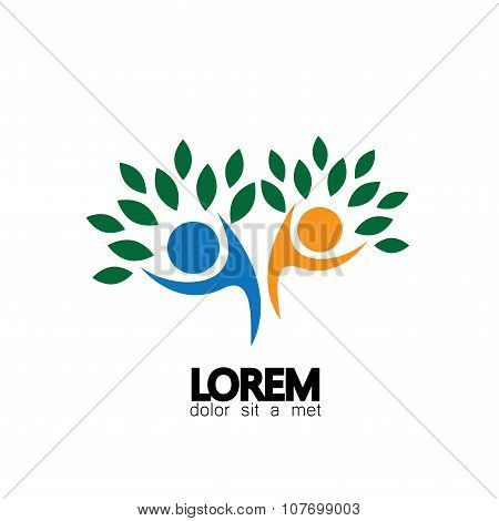 Tree Person Logo Vector Icon Representing Friendship, Embracing