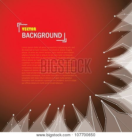 Cybernetic Technology Background With Lines And Triangle Shapes On Red