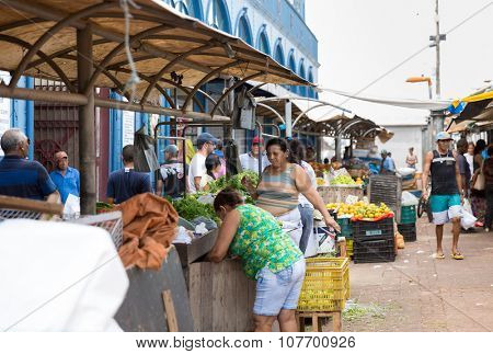 BELEM DO PARA - CIRCA NOVEMBER 2015: Fruits and vegetables at street market in Belem do Para, Brazil