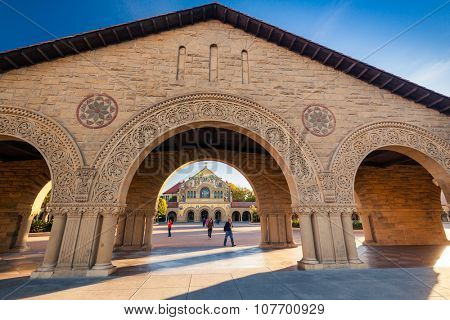 PALO ALTO, USA - OCT 22 2014: Memorial Church at Stanford University. Stanford University is one of the world's leading research and teaching institutions. It is located in Stanford, California.