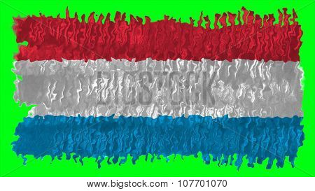 Flag of Luxembourg painted with brush on solid background, paint texture.