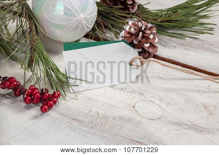 The wooden table with  empty  blank price tag