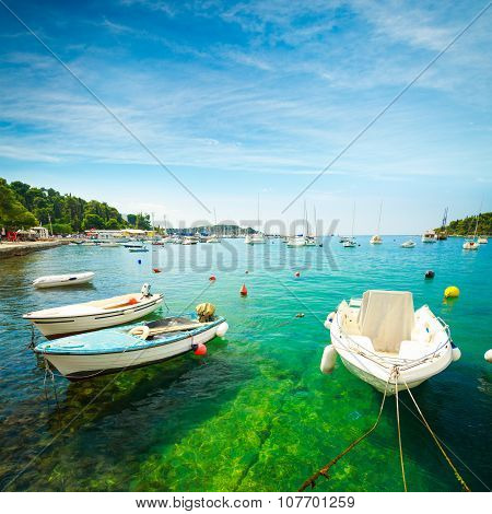 Boat on Crystal Clear Water of Adriatic Sea in Croatia