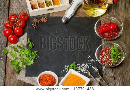 Food Background With Different Spices