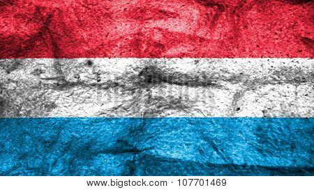 Flag of Luxembourg painted on wool texture
