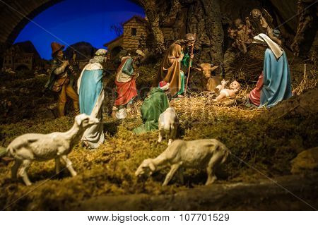 Christmas Manger Scene With Figurines Including Jesus, Mary, Joseph, Sheep And Magi