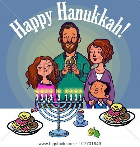 Happy Jewish Family Celebrating Hanukkah. Vector Illustration