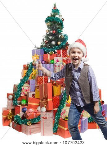Boy and a lot of gifts