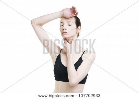 Woman With Headache And With Pain In The Throat